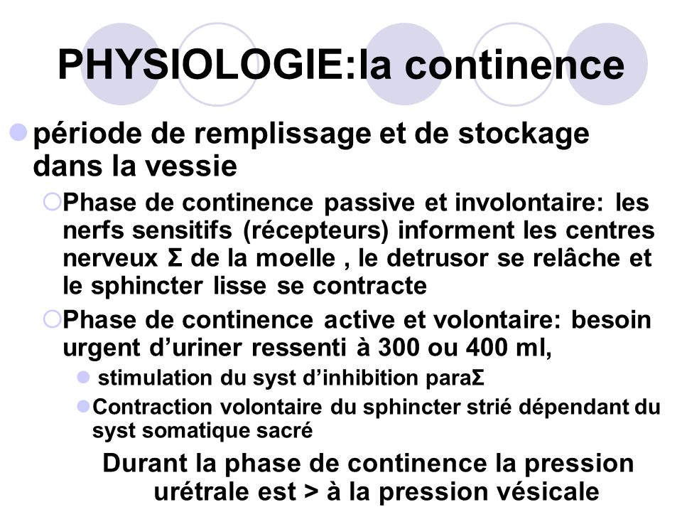 PHYSIOLOGIE:la continence