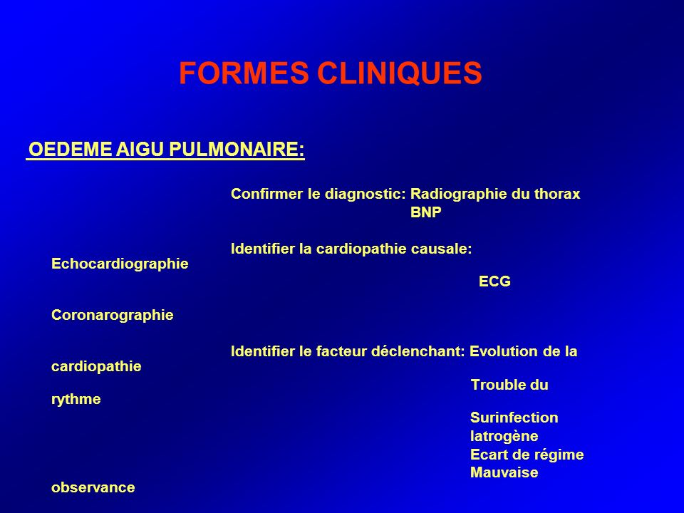 FORMES CLINIQUES Confirmer le diagnostic: Radiographie du thorax BNP