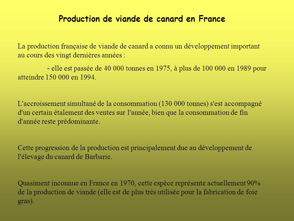 Production de viande de canard en France