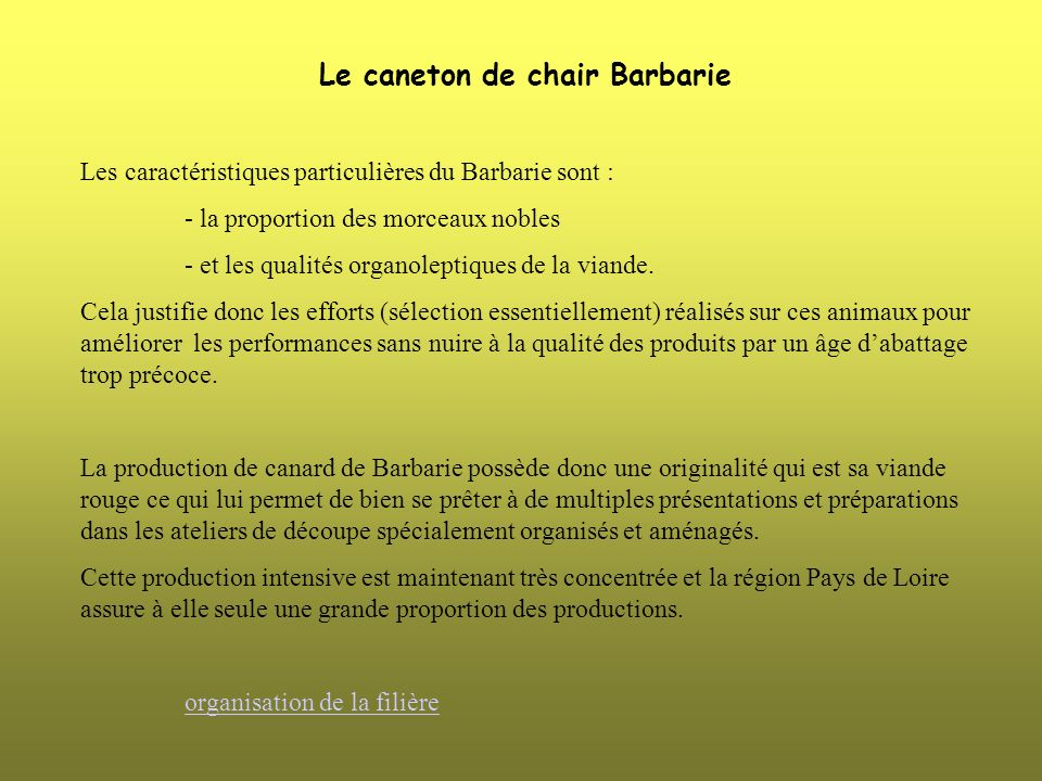 Le caneton de chair Barbarie