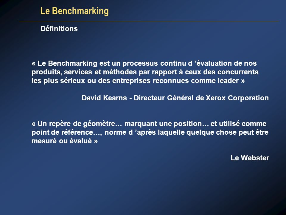 Le Benchmarking Définitions