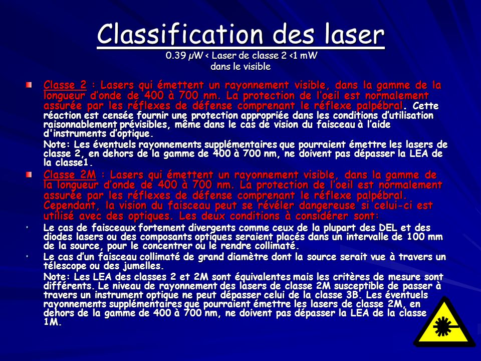 Classification des laser 0