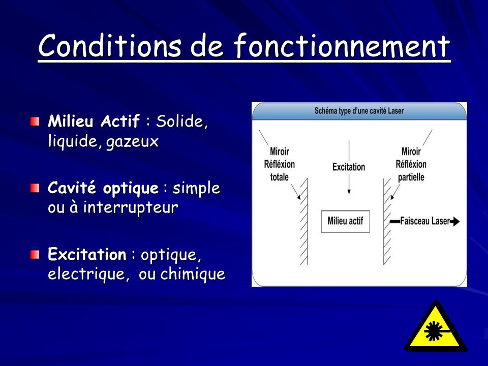 Conditions de fonctionnement