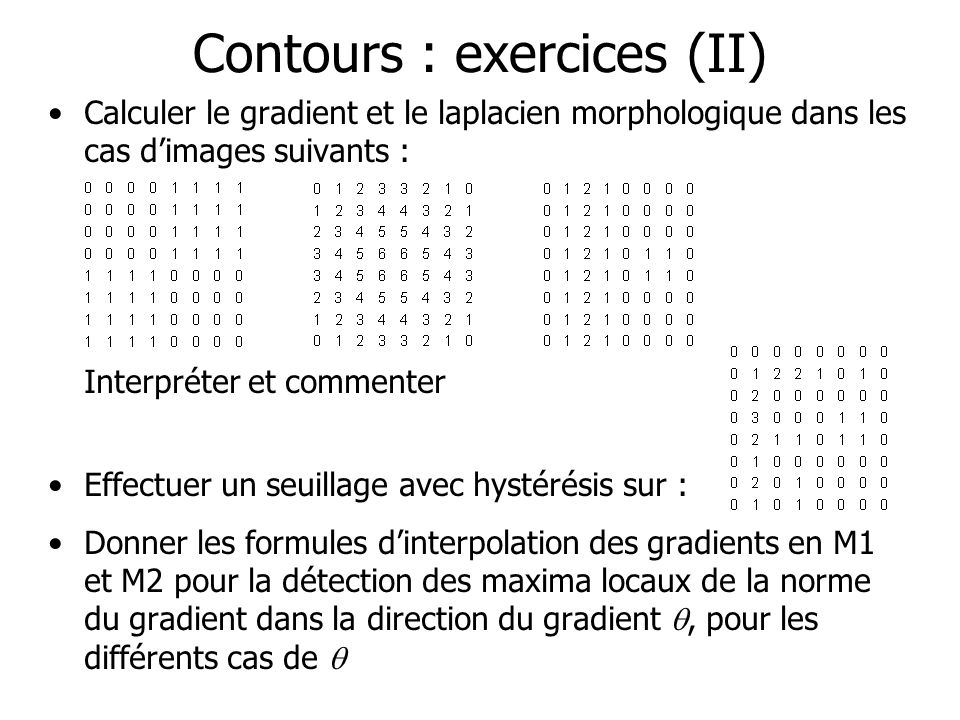 Contours : exercices (II)