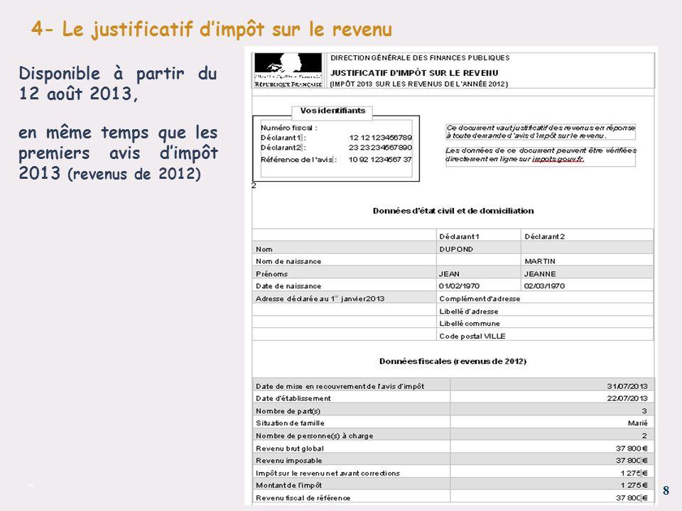 Presentation Du Justificatif D Impot Sur Le Revenu Et Du Service De