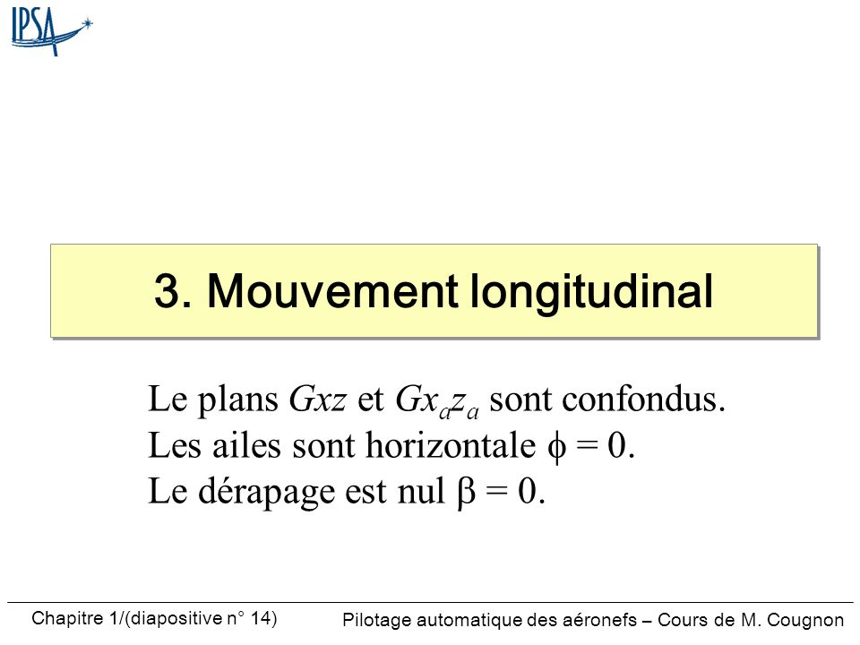 3. Mouvement longitudinal
