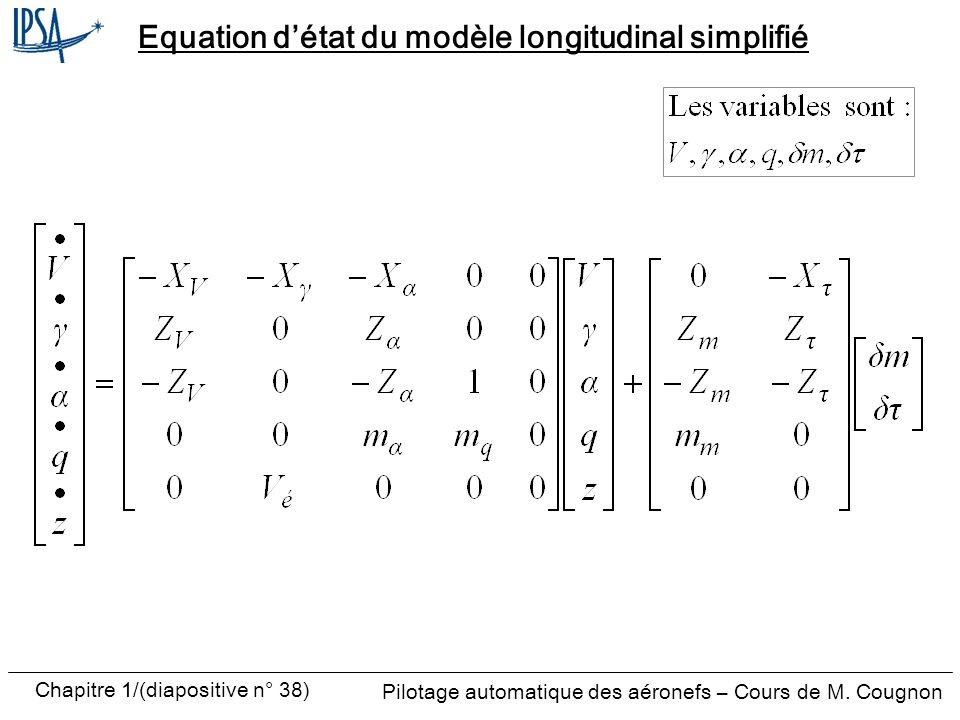 Equation d'état du modèle longitudinal simplifié