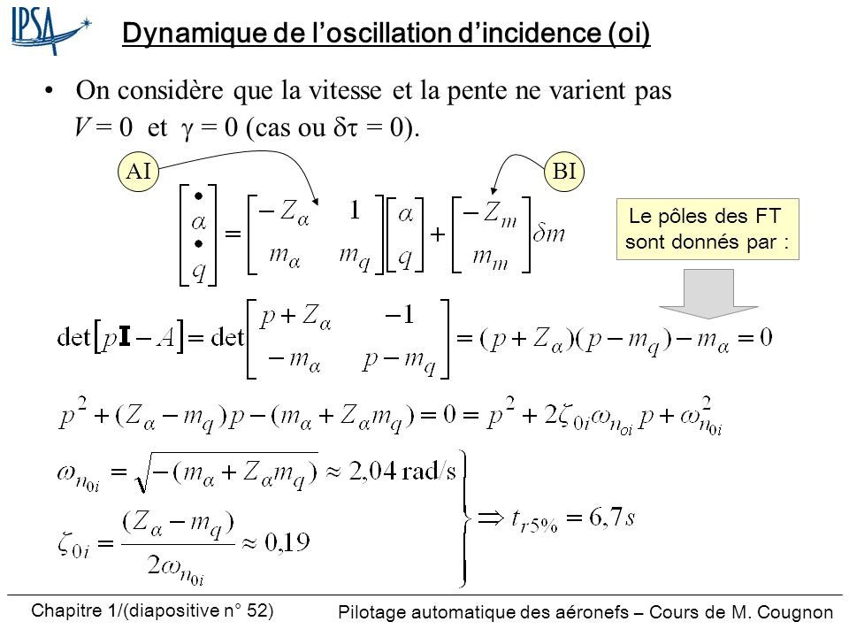 Dynamique de l'oscillation d'incidence (oi)