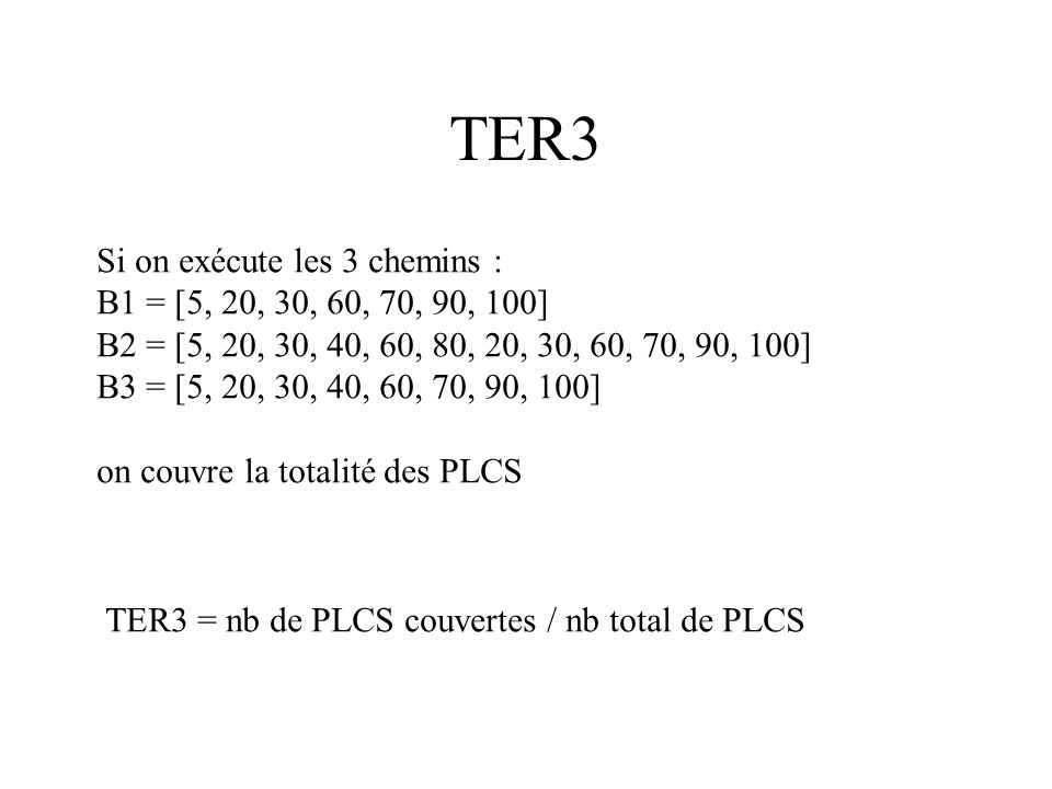 TER3 Si on exécute les 3 chemins : B1 = [5, 20, 30, 60, 70, 90, 100]