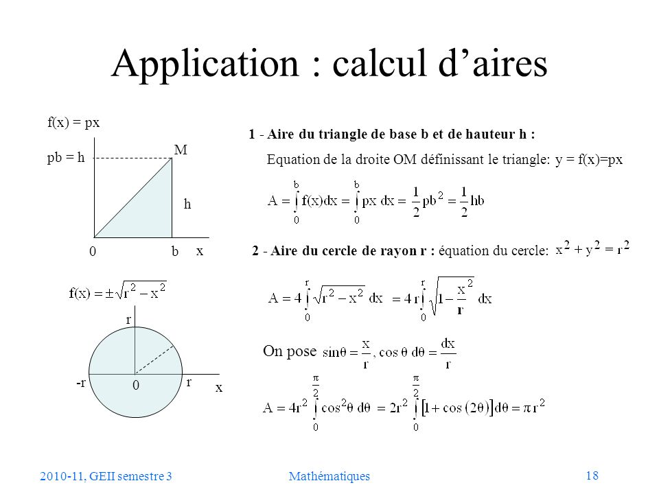 Application : calcul d'aires