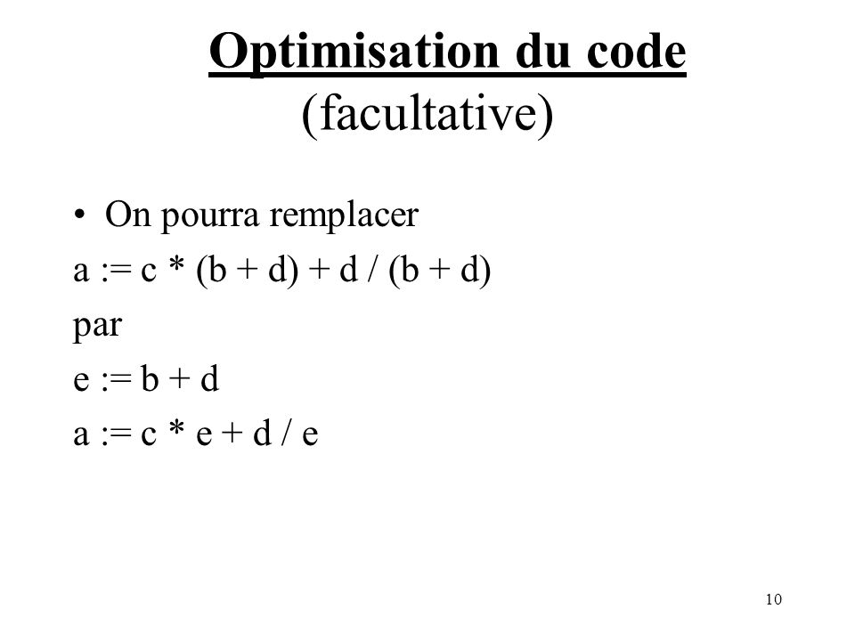 Optimisation du code (facultative)