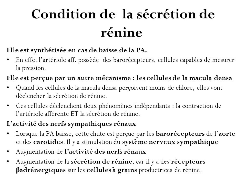 Condition de la sécrétion de rénine