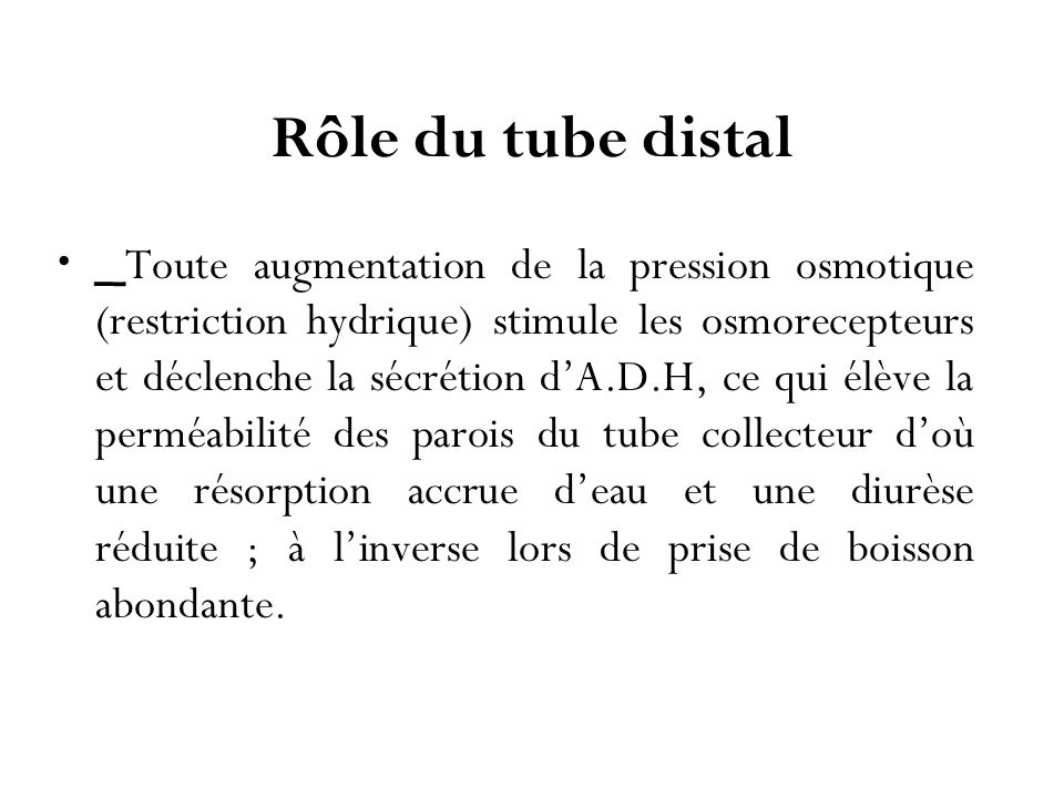 Rôle du tube distal