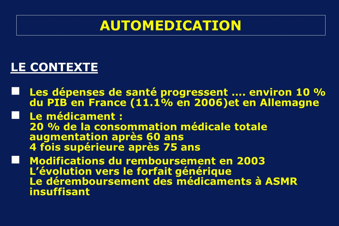 AUTOMEDICATION LE CONTEXTE