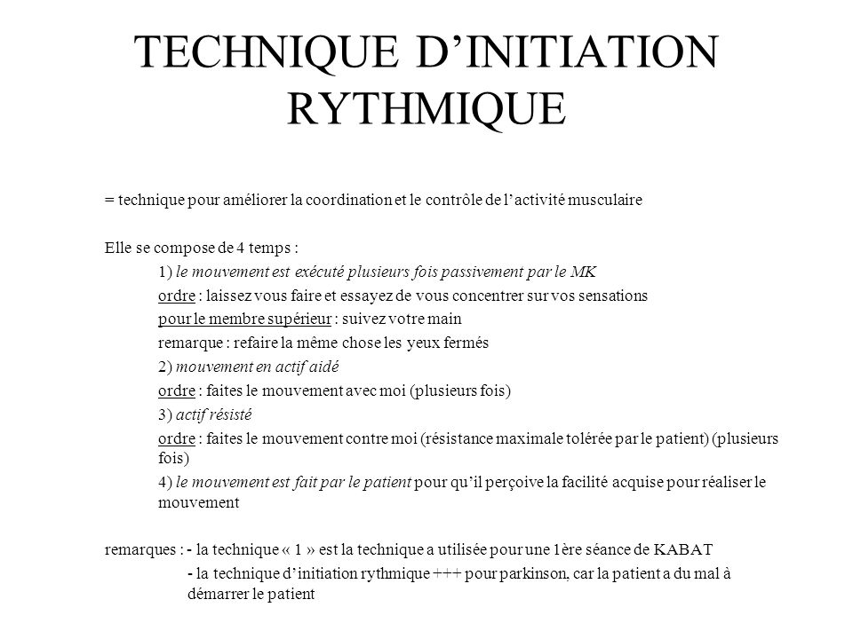 TECHNIQUE D'INITIATION RYTHMIQUE