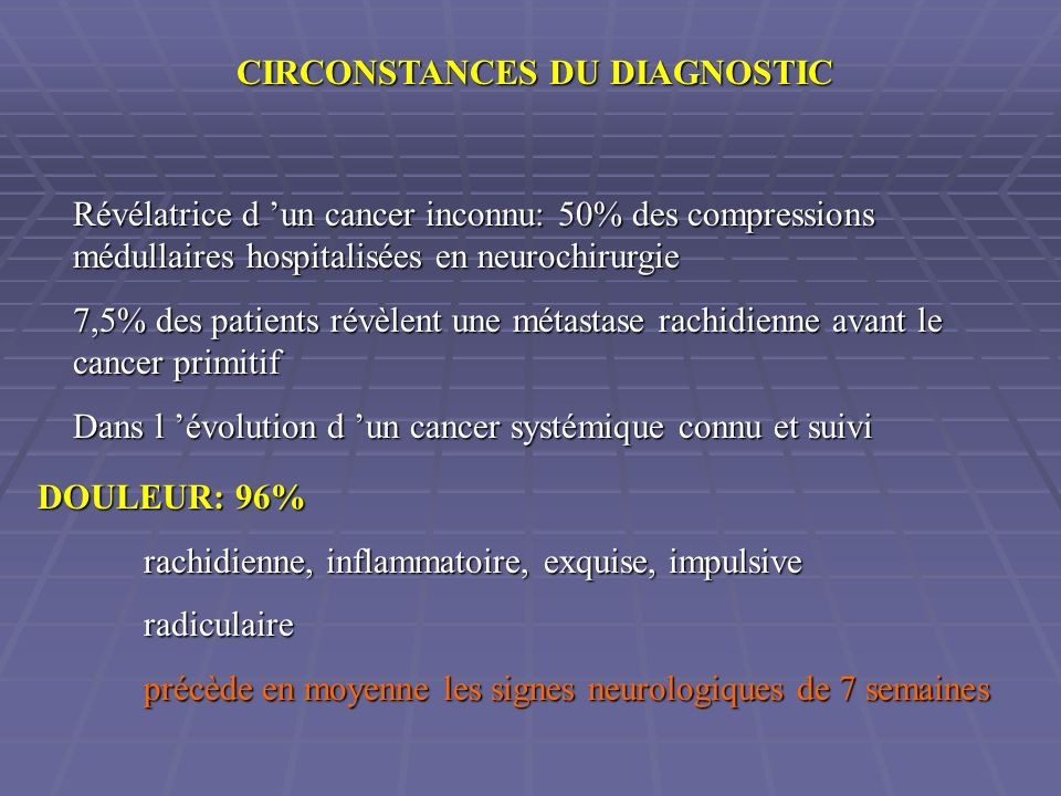 CIRCONSTANCES DU DIAGNOSTIC