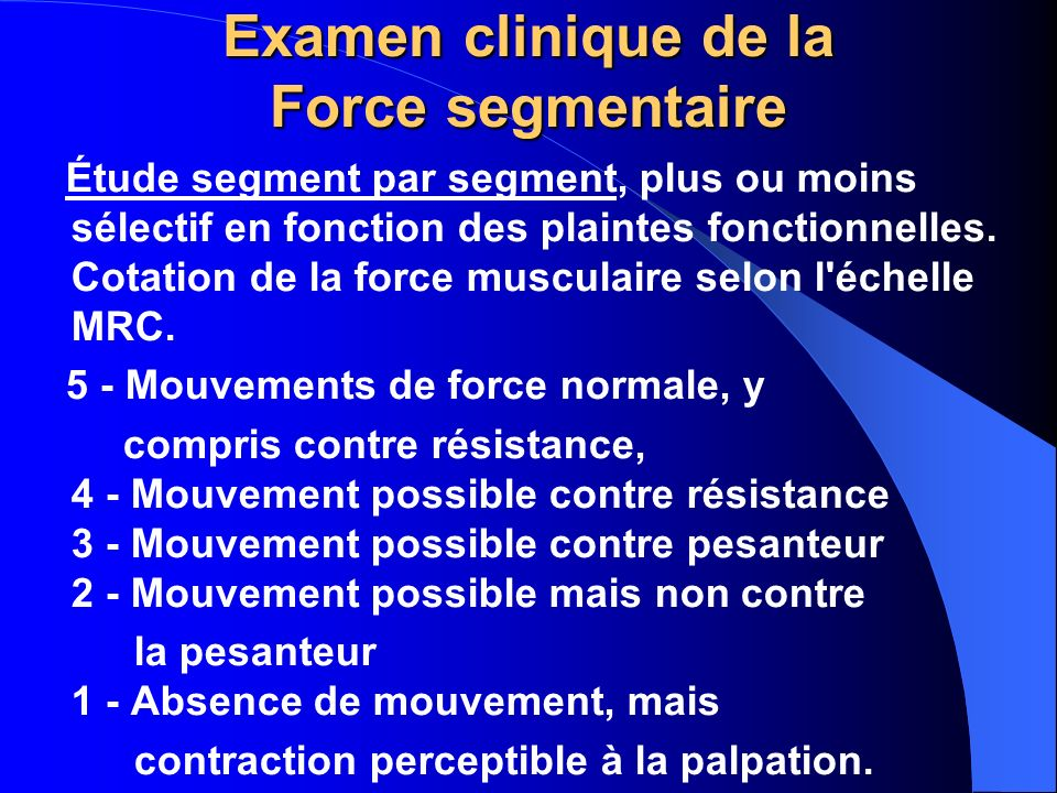 Examen clinique de la Force segmentaire