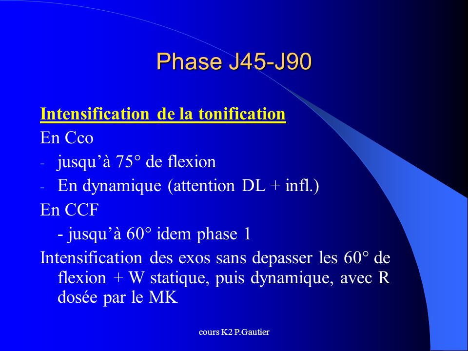 Phase J45-J90 Intensification de la tonification En Cco