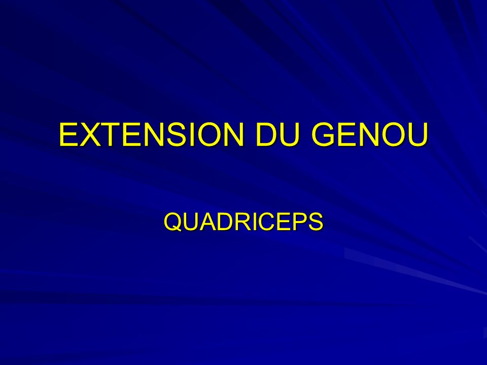 EXTENSION DU GENOU QUADRICEPS