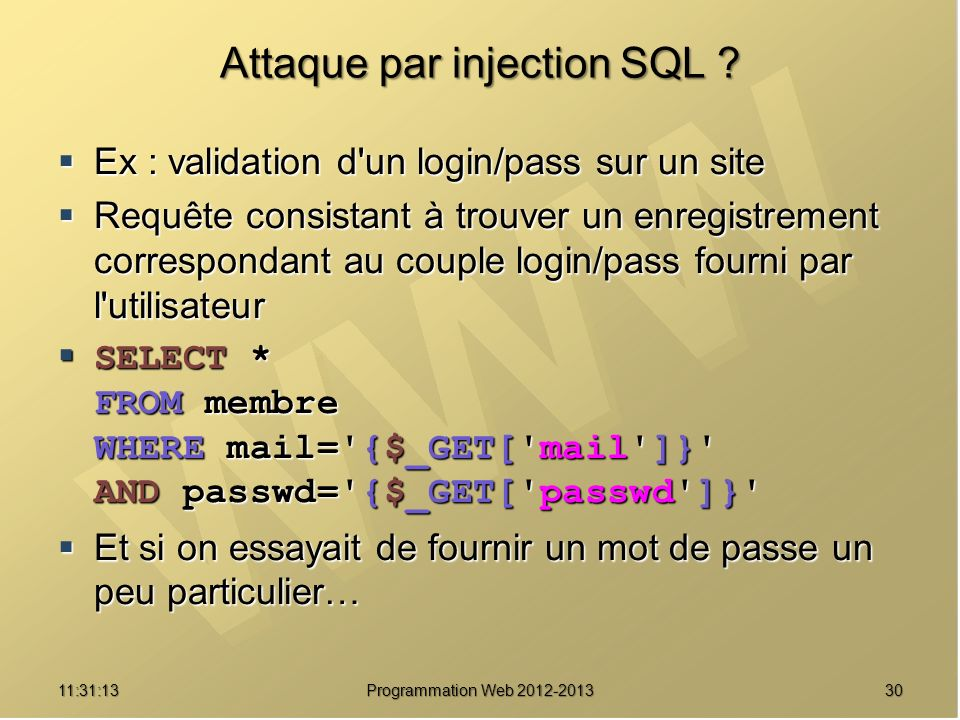 Attaque par injection SQL