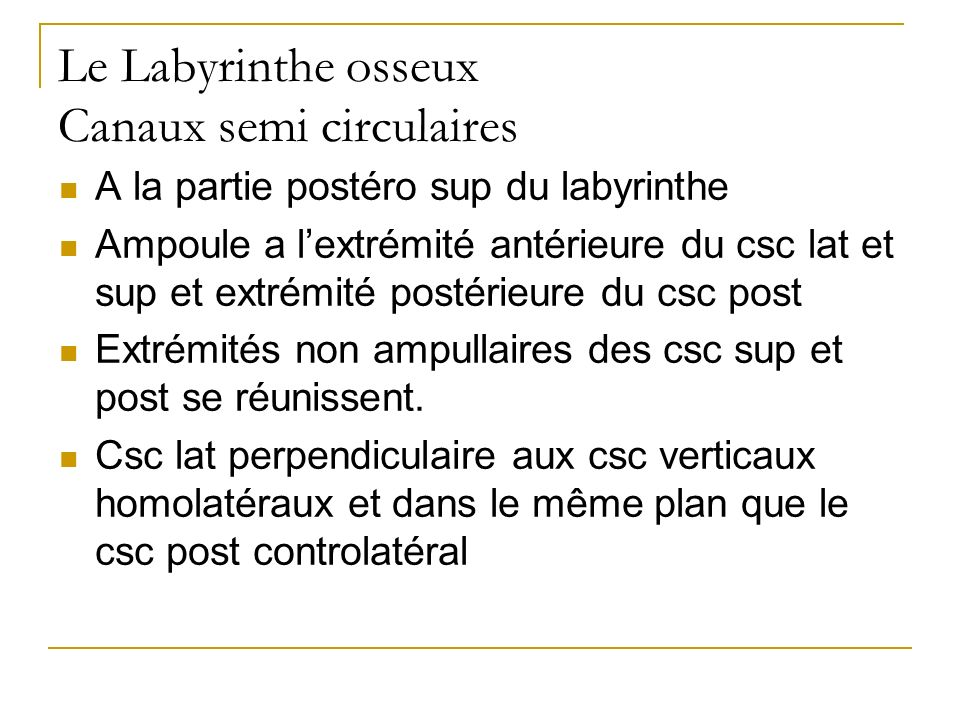 Le Labyrinthe osseux Canaux semi circulaires