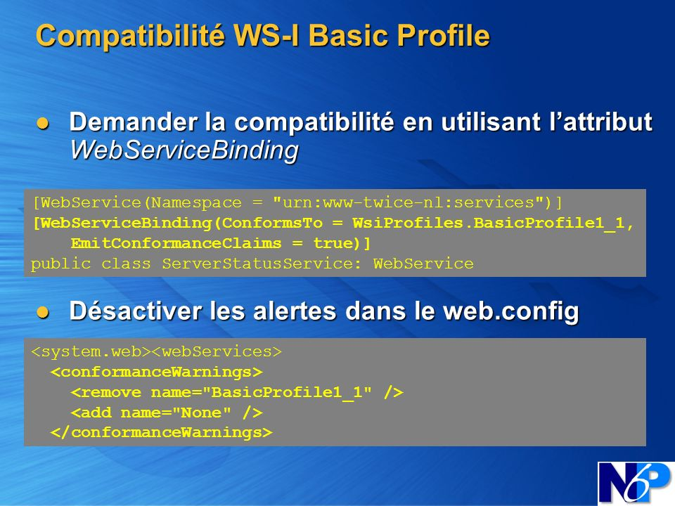 Compatibilité WS-I Basic Profile