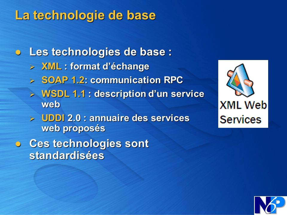 La technologie de base Les technologies de base :