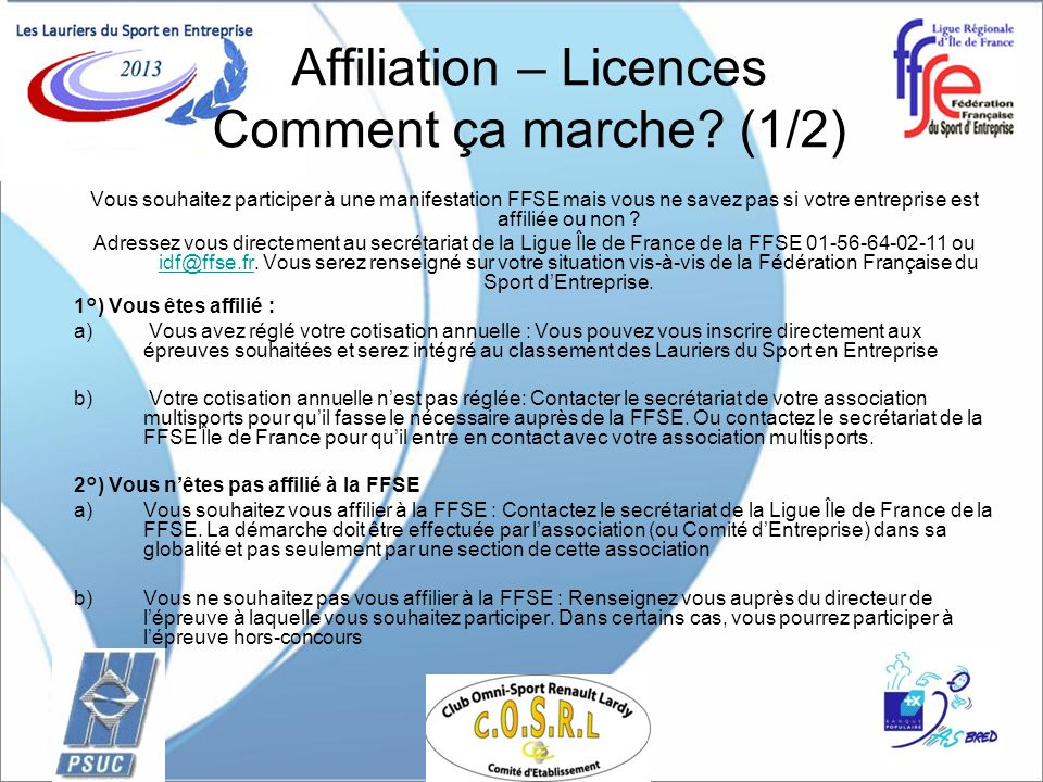 Affiliation – Licences Comment ça marche (1/2)