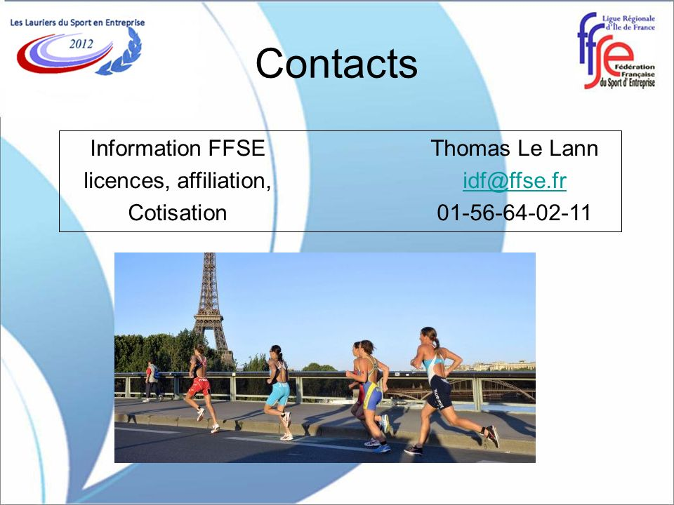 Contacts Information FFSE Thomas Le Lann