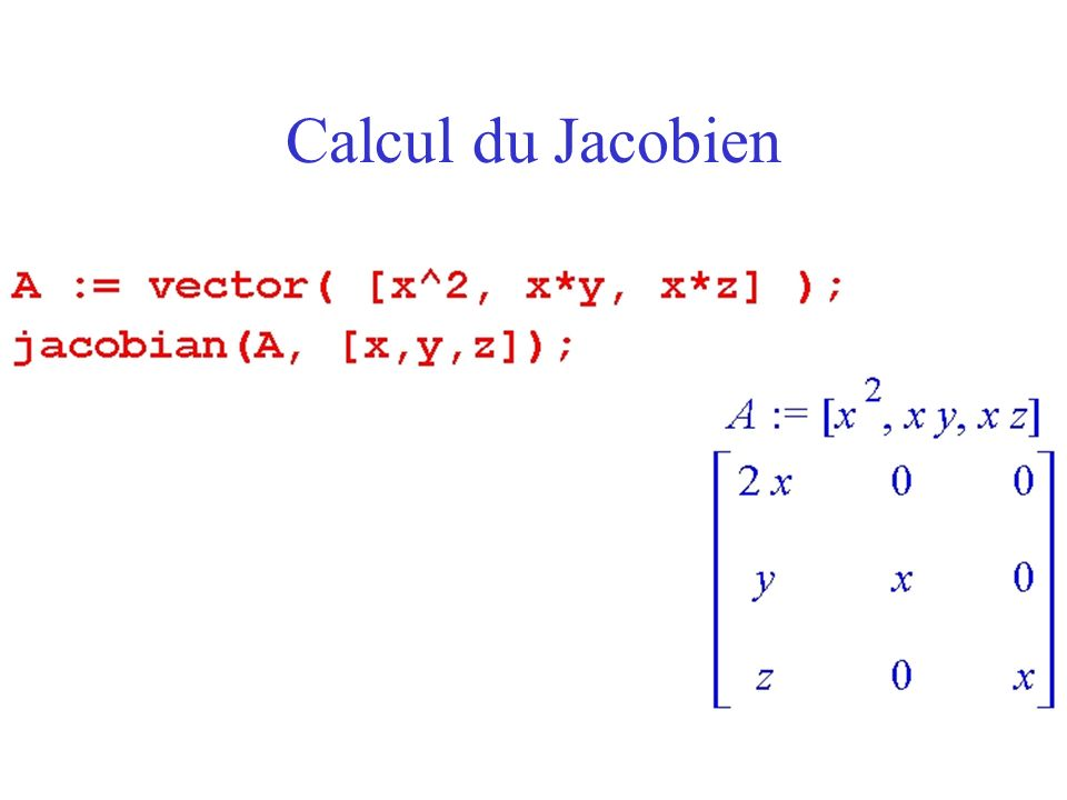 Calcul du Jacobien
