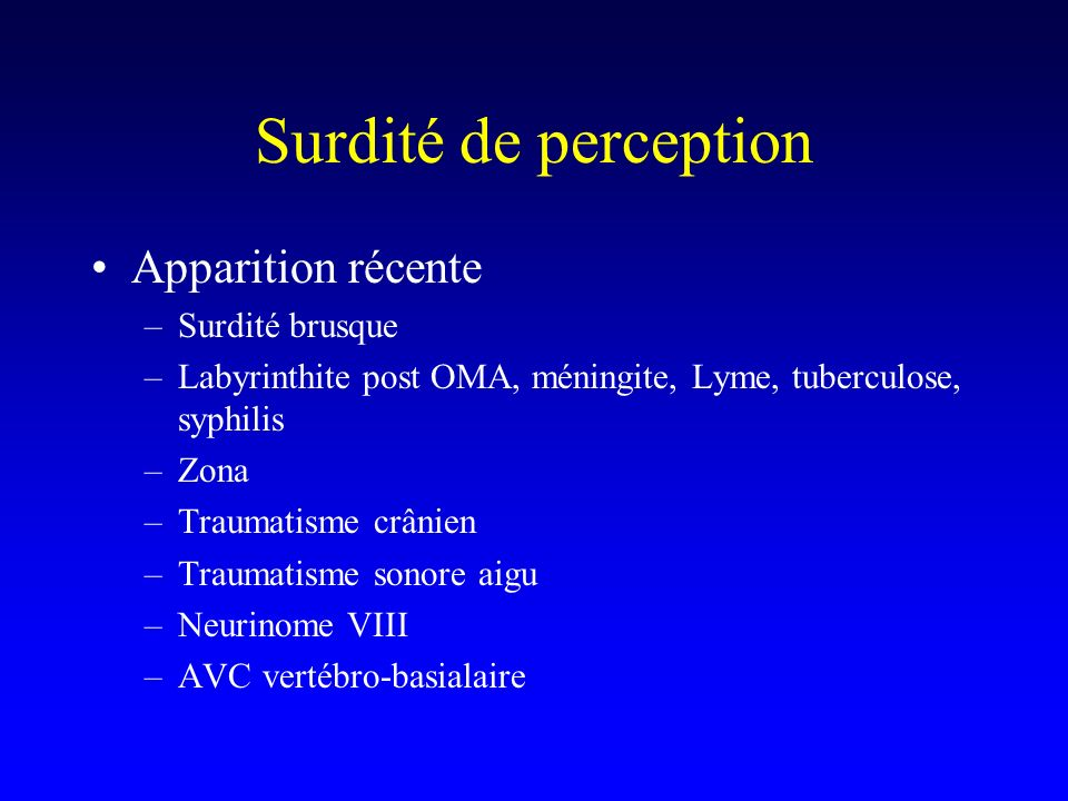 Surdité de perception Apparition récente Surdité brusque