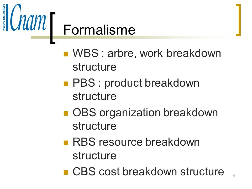 Formalisme WBS : arbre, work breakdown structure