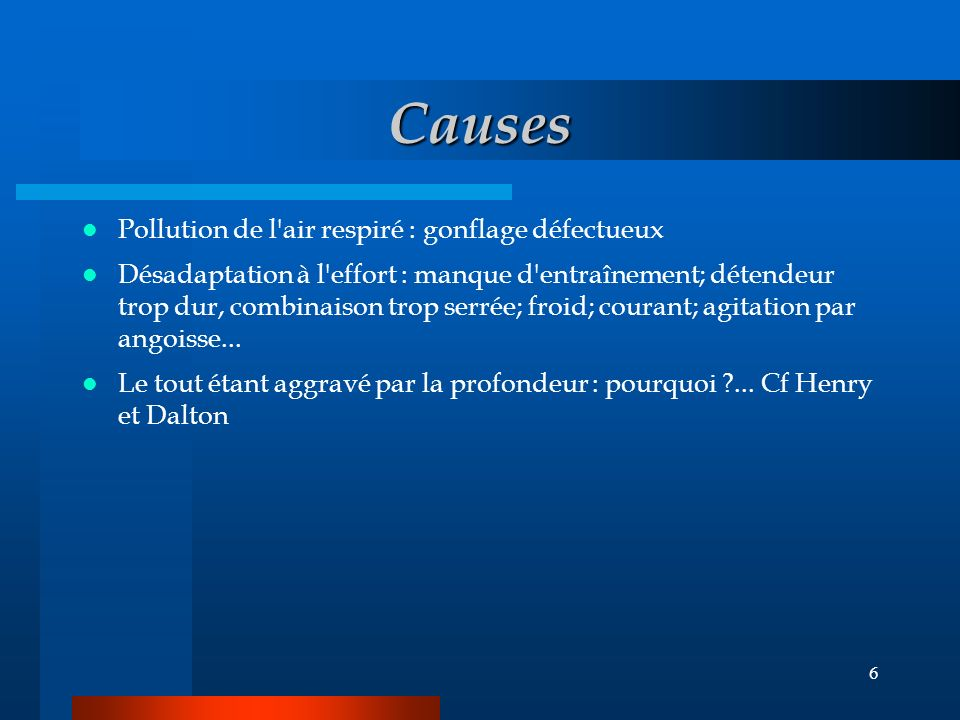Causes Pollution de l air respiré : gonflage défectueux