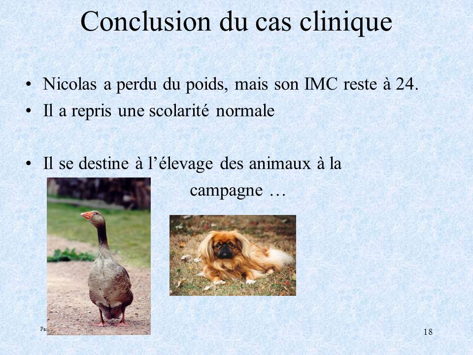 Conclusion du cas clinique