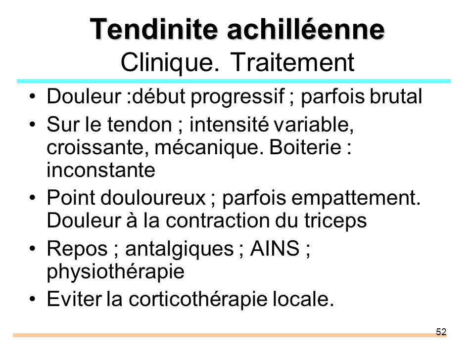 Tendinite achilléenne Clinique. Traitement