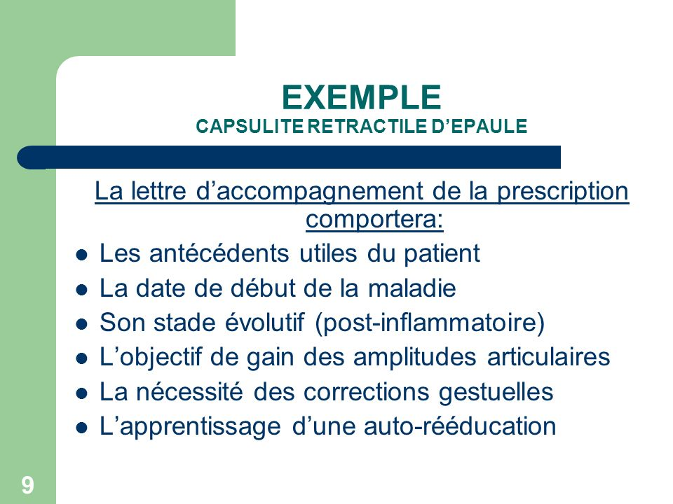 EXEMPLE CAPSULITE RETRACTILE D'EPAULE