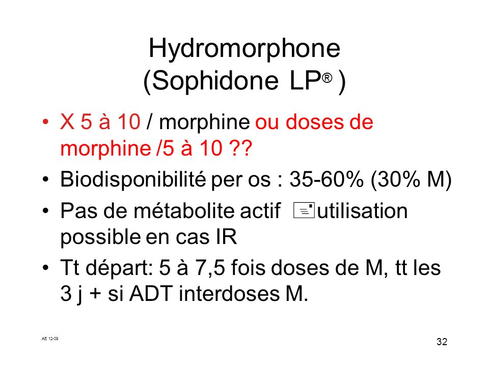 Hydromorphone (Sophidone LP® )