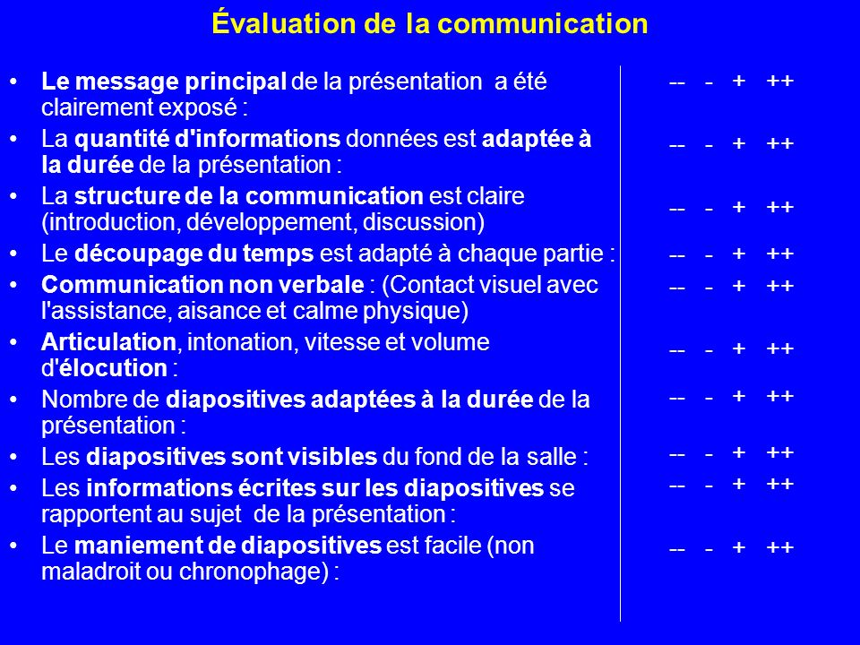 Évaluation de la communication