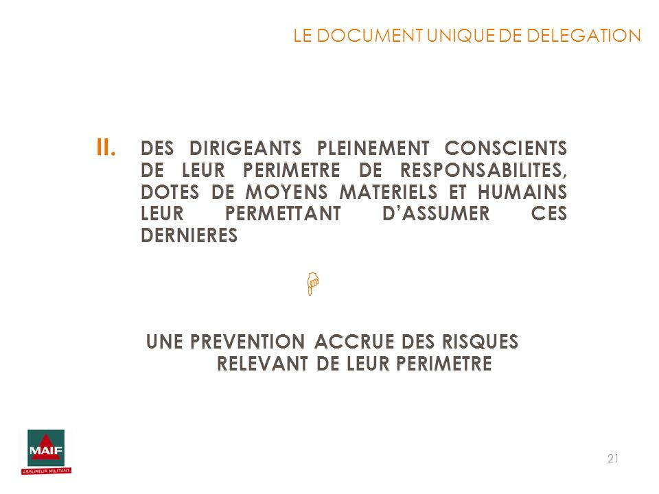 LE DOCUMENT UNIQUE DE DELEGATION
