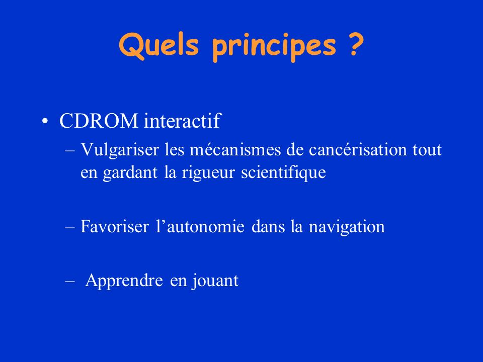 Quels principes CDROM interactif