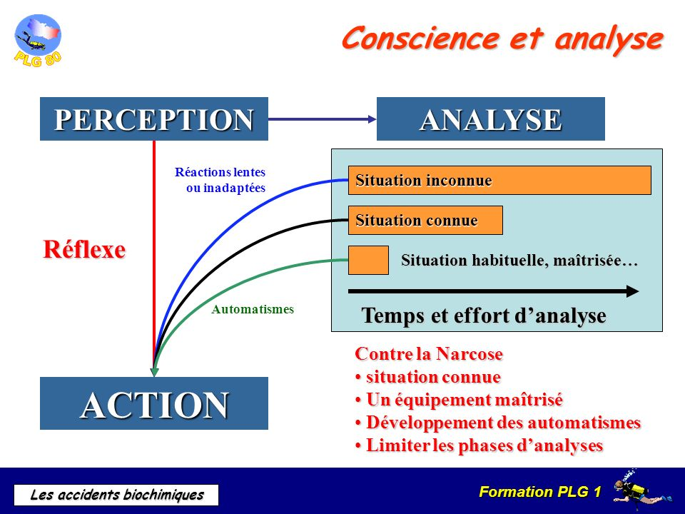 ACTION Conscience et analyse PERCEPTION ANALYSE Réflexe