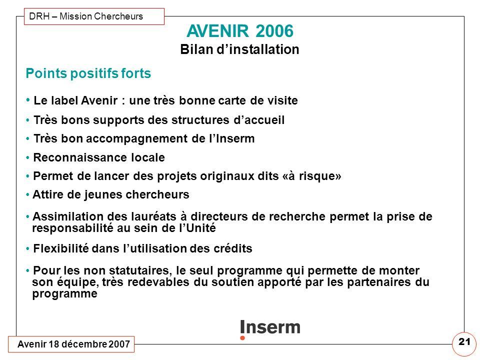AVENIR 2006 Bilan Dinstallation