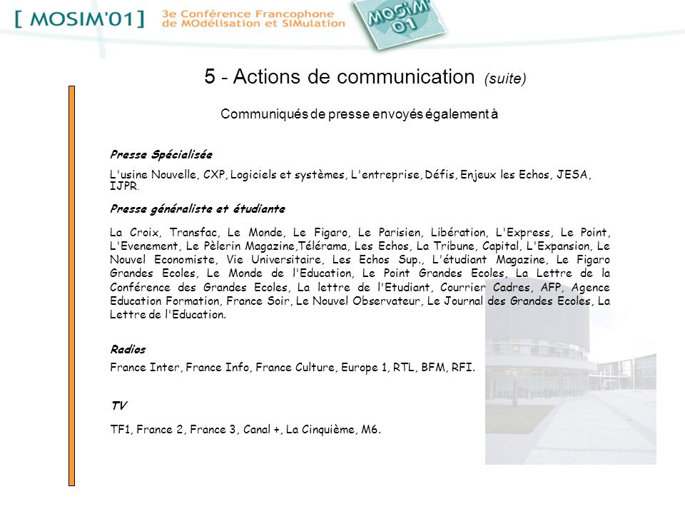 5 - Actions de communication (suite)