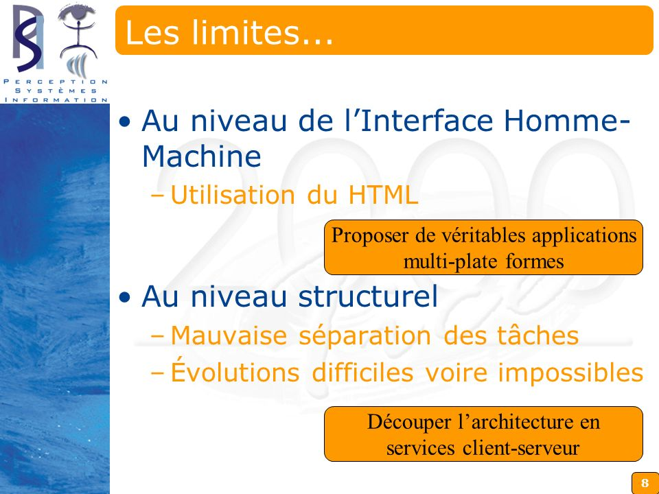 Les limites... Au niveau de l'Interface Homme-Machine