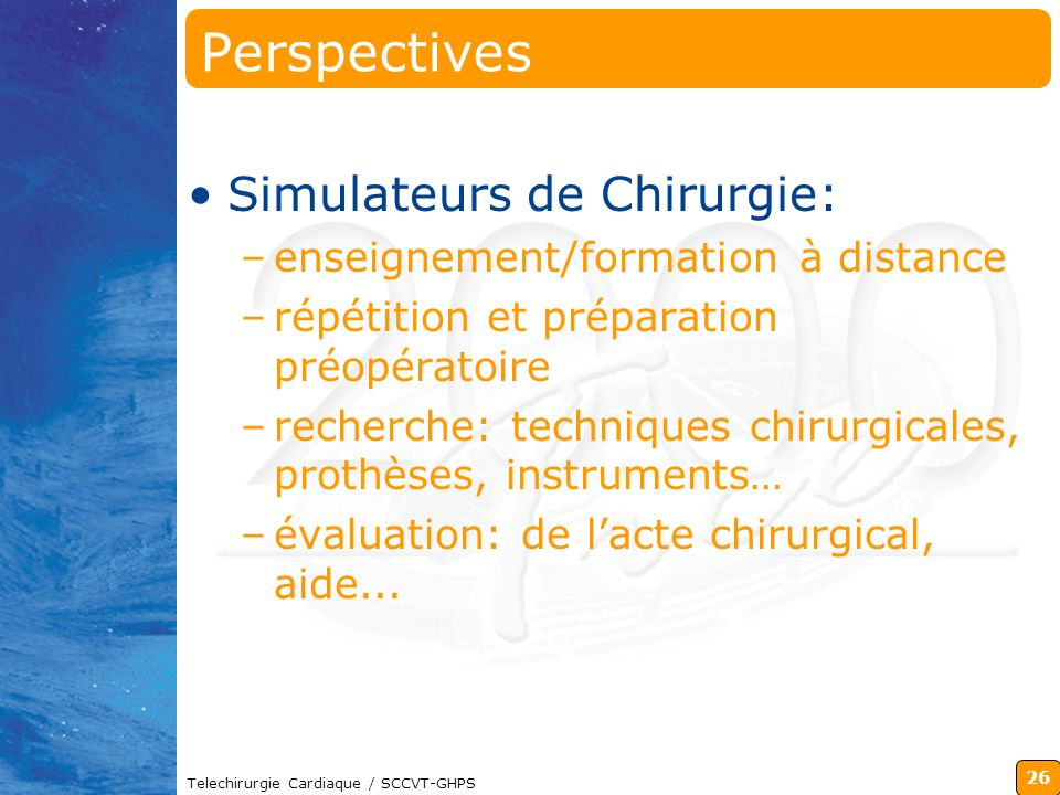 Perspectives Simulateurs de Chirurgie: