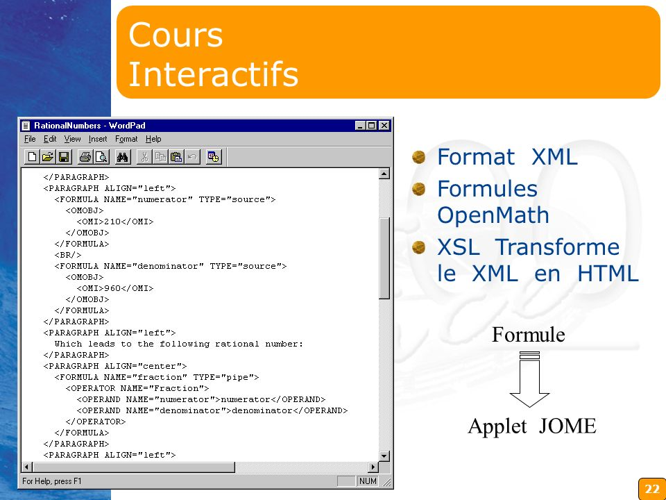Cours Interactifs Format XML Formules OpenMath