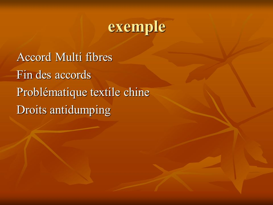 exemple Accord Multi fibres Fin des accords