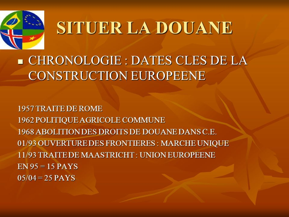 SITUER LA DOUANE CHRONOLOGIE : DATES CLES DE LA CONSTRUCTION EUROPEENE