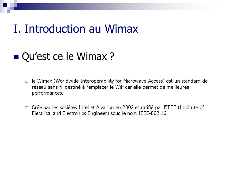 I. Introduction au Wimax