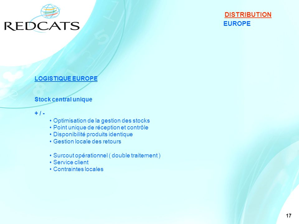 DISTRIBUTION EUROPE LOGISTIQUE EUROPE Stock central unique + / -